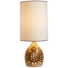 1970s French Georges Pelletier Gold Pottery Table Lamp with Bird Motif