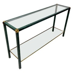 1970s French Green and Brass Console Table