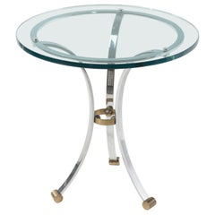 1970s French Hollywood Regency Polished Chrome Brass and Glass Round Side Table