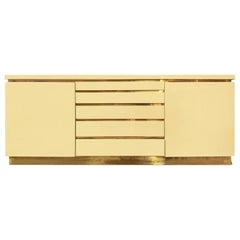 1970s, French, Ivory Lacquer Sideboard with Brass Details by Jean Claude Mahey
