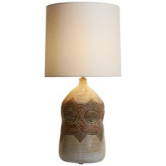 1970s French Ivory Pottery Lamp with Brown & Green Accents and Custom Lampshade