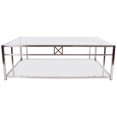 1970s French Large Glass and Chrome Coffee Table with Cross Design