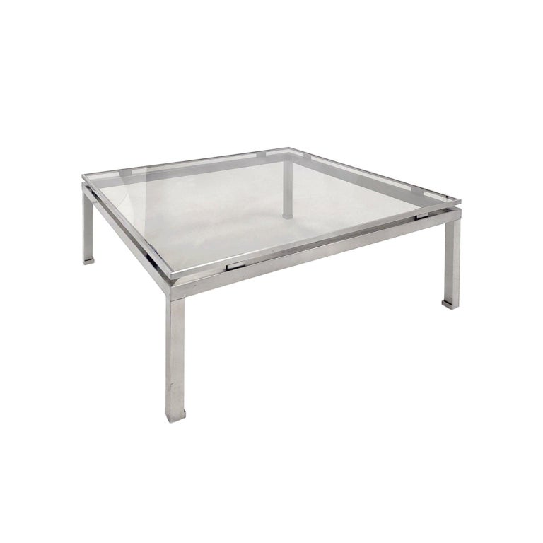 Large square brushed nickel coffee table by Guy Lefevre, France, 1970s.