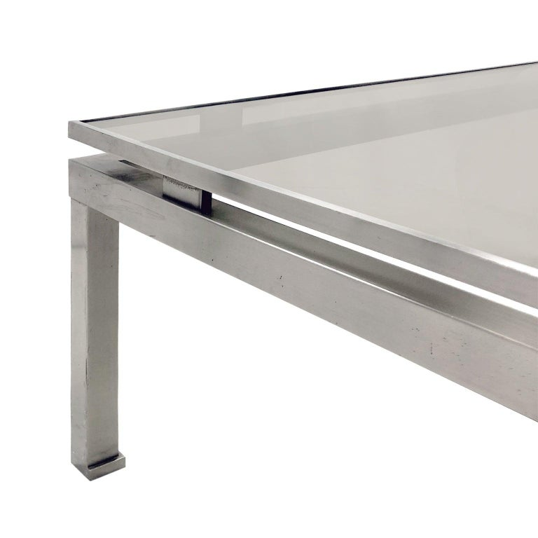 1970s French Large Square Brushed Nickel Coffee Table by Guy Lefevre In Good Condition For Sale In Stamford, CT