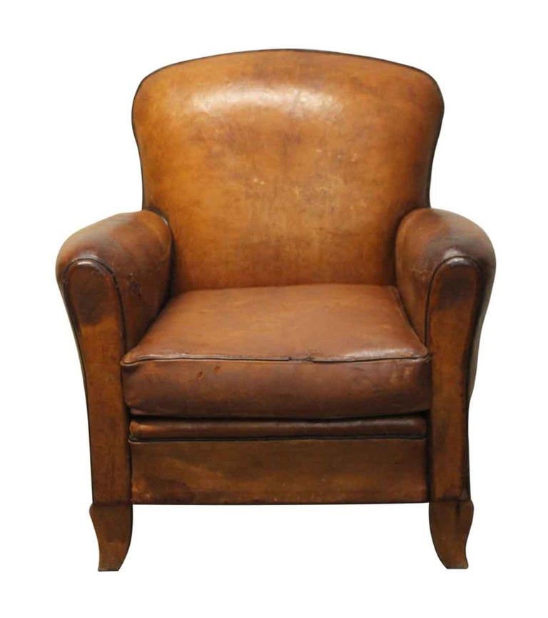 1970s French Leather Vintage Club Chair For Sale At 1stdibs