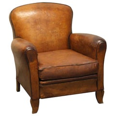 1970s French Leather Vintage Club Chair