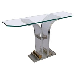 1970s French Lucite & Glass Console Deco style