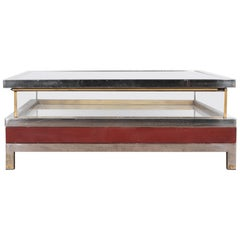 1970s French Metal and Glass Coffee Table