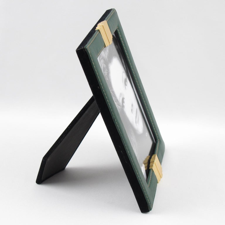 Mid-Century Modern 1970s French Modern Hand-Stitched Green Leather and Brass Picture Photo Frame For Sale