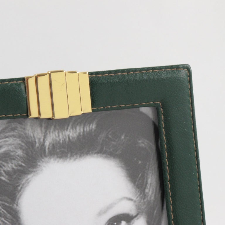 Late 20th Century 1970s French Modern Hand-Stitched Green Leather and Brass Picture Photo Frame For Sale