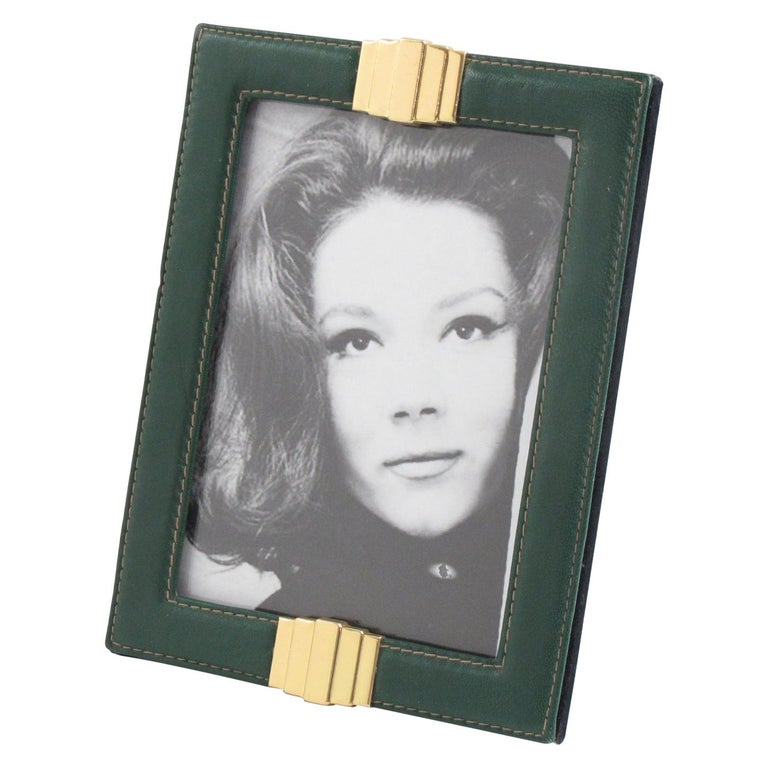 1970s French Modern Hand-Stitched Green Leather and Brass Picture Photo Frame For Sale