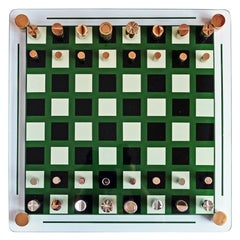 1970s French Modernist Glass Brass and Chrome Chess Set