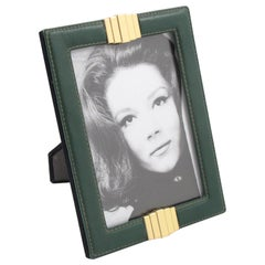 1970s French Modernist Hand-Stitched Green Leather and Brass Picture Photo Frame