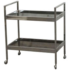 1970s French Nickel-Plated Two Shelf Bar Cart with Smoked Glass