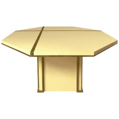 1970s French Octagonal Ivory Lacquer Extendable Dining Table with Brass Inlay