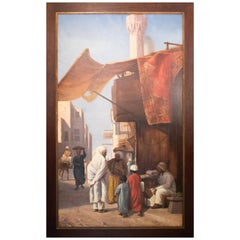 1970s French Oil on Canvas Orientalist Painting with Frame