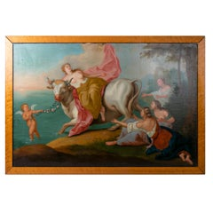 1970s French Oil on Canvas Painting of Europa and the Bull with Frame