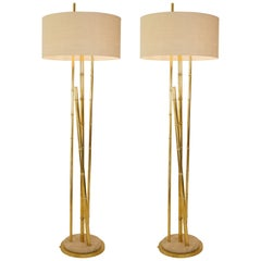 1970s French Pair of Brass Faux Bamboo Floor Lamps