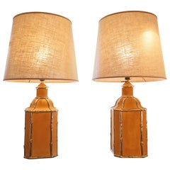 1970s French Pair of Brown Ceramic Lamps with Gilded Bamboo Detail