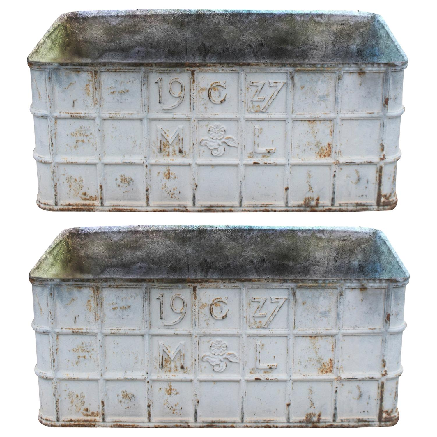 1970s French Pair of Cast Iron Rectangular Planters