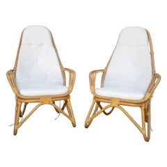 1970s French Pair of Leather Joined Bamboo Armchairs