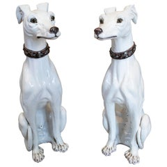 1970s French Pair of Painted Glazed Ceramic Dogs