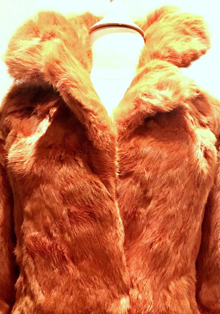 Women's or Men's 1970'S French Rabbit Fur & Leather Pea Coat by, Fur Couture Beverly Hills