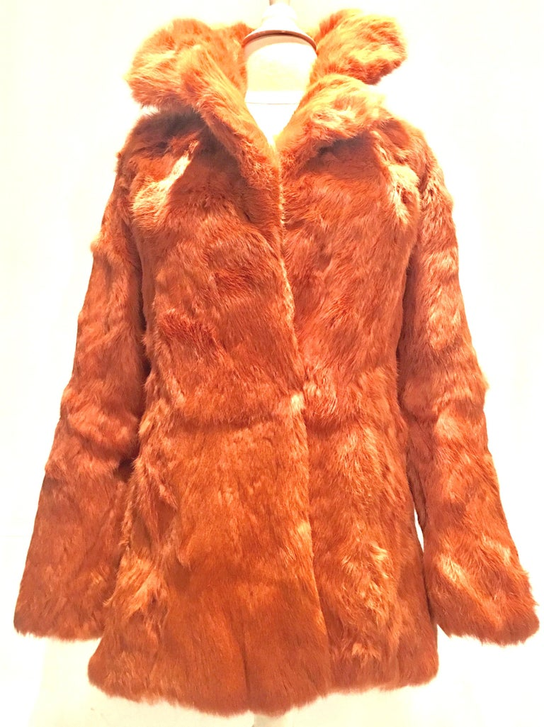 Red 1970'S French Rabbit Fur & Leather Pea Coat by, Fur Couture Beverly Hills