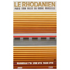1970s French Rail SNCF Travel Railway Poster Minimal Geometric Design