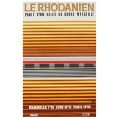 1970s French Rail SNCF Travel Railway Poster Minimal Geometric Design