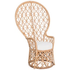 """1970s French Rattan """"Emmanuelle"""" Peacock Chair"""