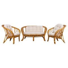 1970s French Rattan Sofa Set, Set of 3