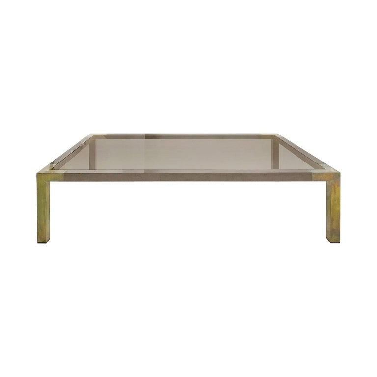 Rectangular two-tone bronze coffee table with smoked glass top by Willy Rizzo, France, 1970s.
