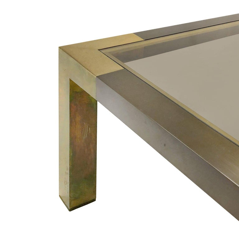 Late 20th Century 1970s French Rectangular Two-Tone Bronze Coffee Table by Willy Rizzo For Sale