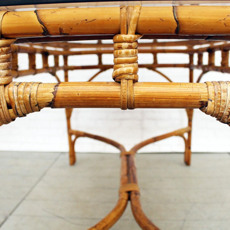 glass dining room tables for sale | 1970s French Riviera Style Bamboo Smoked Glass Topped ...