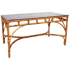 1970s French Riviera Style Bamboo Smoked Glass Topped Dining Table