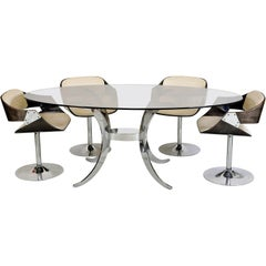 1970s French Roche Bobois Dining Suite Chrome Glass Table 4 Luna Tulip Chairs