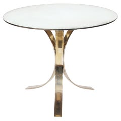 1970s French Round Mirrored Glass Centre Table