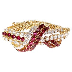 1970s French Ruby and Diamond Bracelet by Vassort and Gerard, 18K Yellow Gold