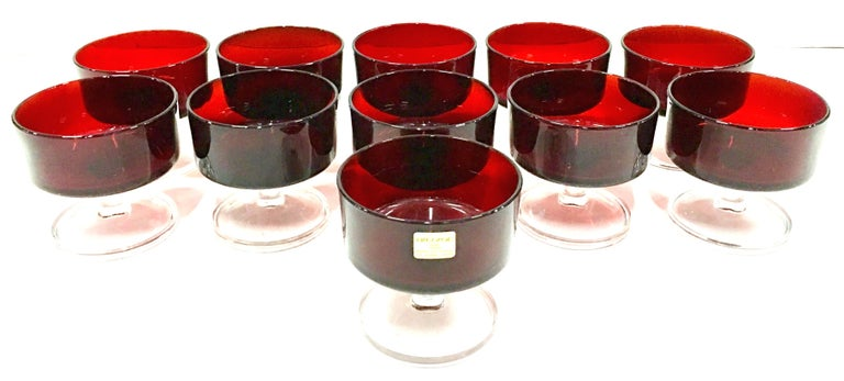 1970'S French Ruby Red & Clear Stem Coupe Drinking Glasses S/11