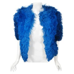 1970's Monsieur of Paris Sapphire Blue Mongolian Curly-Lamb Fur Bolero Jacket