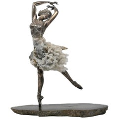 1970s French Silver, Hardstones and Rock Crystal Female Dancer Figure Sculpture