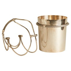 1970s French Silver Plated Ice Bucket and Wine Caddy
