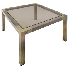1970s French Square Two-Tone Bronze Side Table by Willy Rizzo