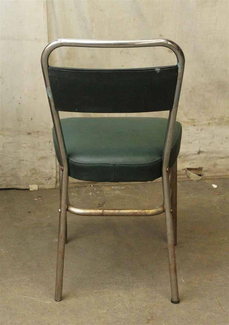 1970s French Strafor Dark Green and Chrome Chair and Stool Set For Sale 5