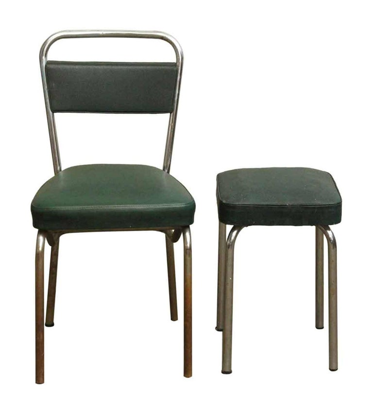 1970s Strafor dark green chairs with matching green stools and a chrome base. Shows some wear. Priced as a four piece set. This can be seen at our 400 Gilligan St location in Scranton, PA.