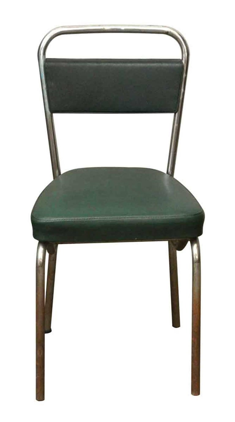 Late 20th Century 1970s French Strafor Dark Green and Chrome Chair and Stool Set For Sale