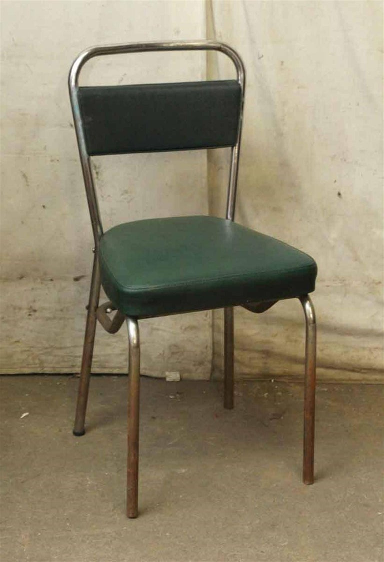 Metal 1970s French Strafor Dark Green and Chrome Chair and Stool Set For Sale