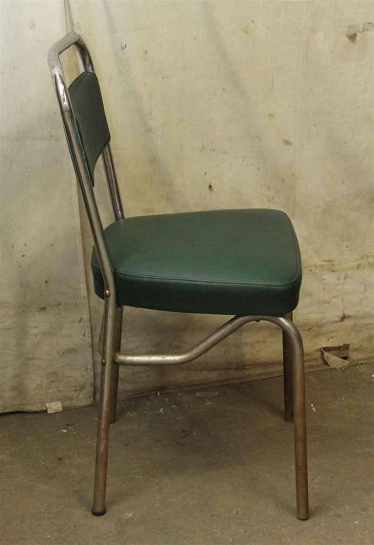 1970s French Strafor Dark Green and Chrome Chair and Stool Set For Sale 1