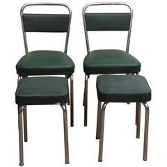 1970s French Strafor Dark Green and Chrome Chair and Stool Set